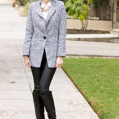 Sparkle Grey Tweed Coat