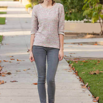 Pink Tweed Sweatshirt and Grey Denim