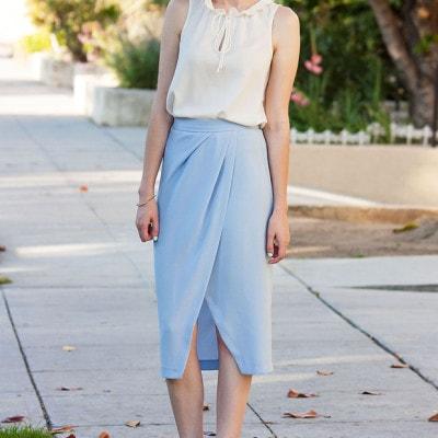 Light Blue Midi Skirt
