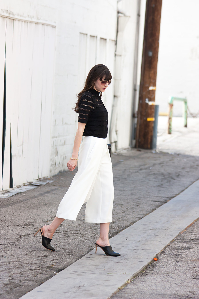 white culottes  jeans and a teacup