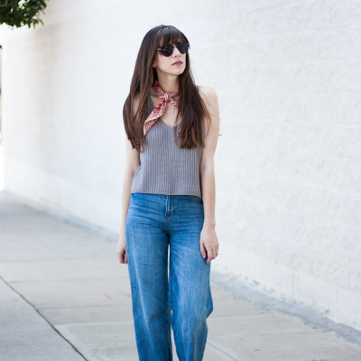 70's inspired street style with denim culottes