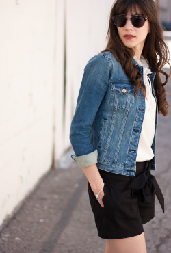 Banana Republic Shorts, Larimar Jewelry, Denim Jacket