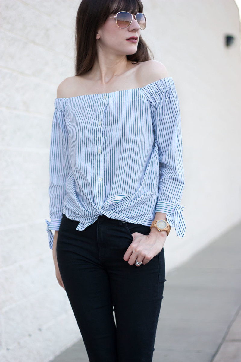 ebd105d97837f ... Banana Republic Striped Off The Shoulder Top ...