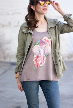 Becoming Ink Tee with Cargo Jacket and Mirrored Sunnies
