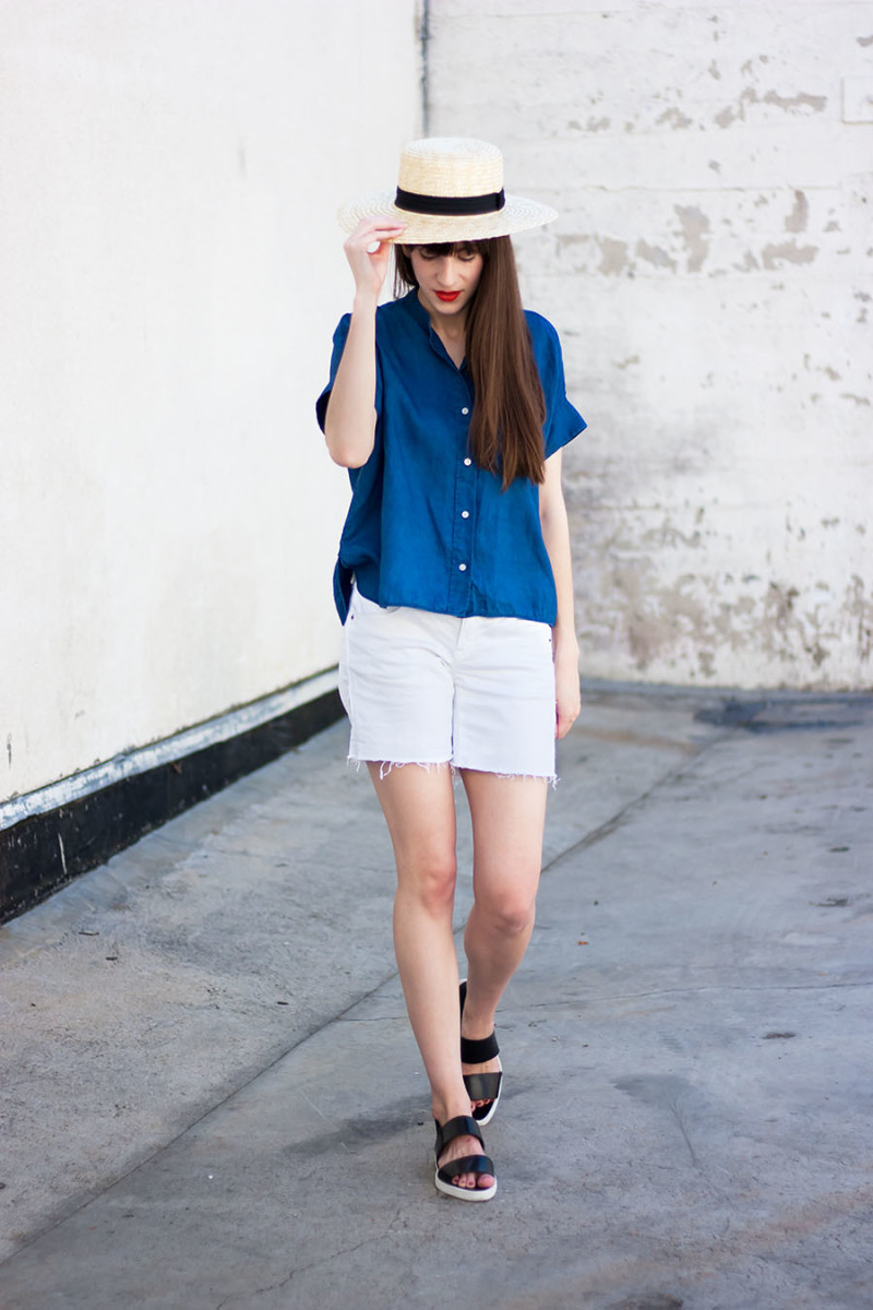 Minimal Fashion Blog, Everlane Clothing, Straw Boater Hat
