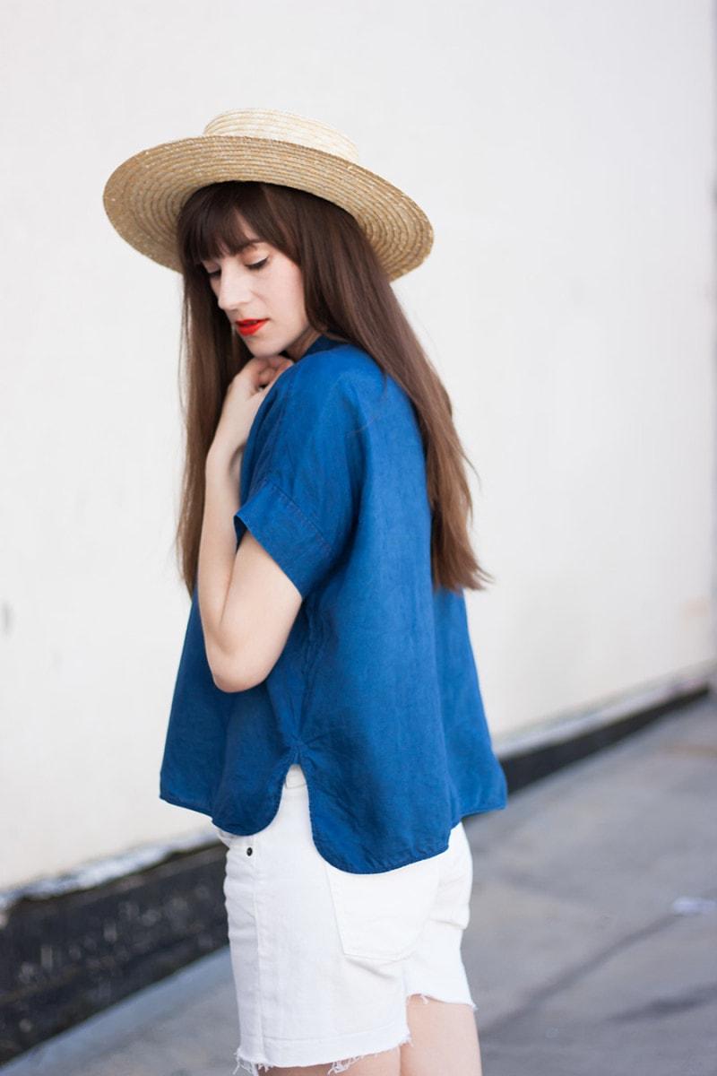 Everlane Square Linen Shirt and White Denim Shorts