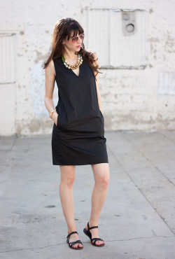 Everlane Dress with Madewell Sandals and History and Industry Necklace