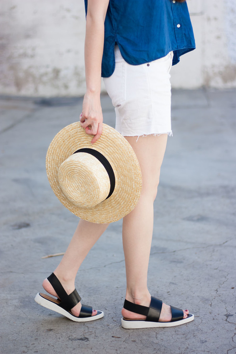Straw Boater Hat and Everlane Street Sandal