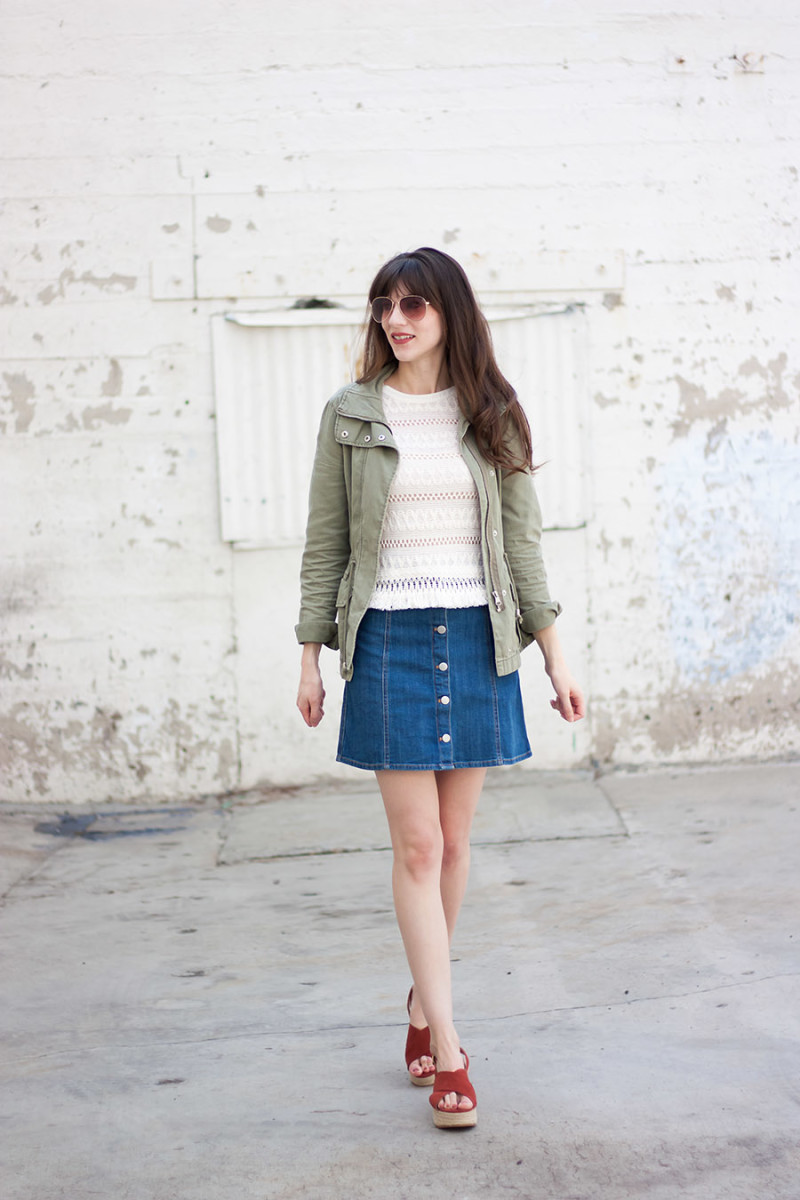 H&M outfit with denim skirt and flatform wedges