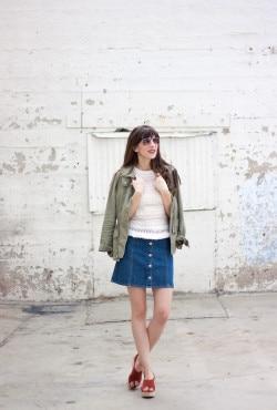 Los Angeles Style Blogger, Button Front Denim Skirt, Flatform Sandals