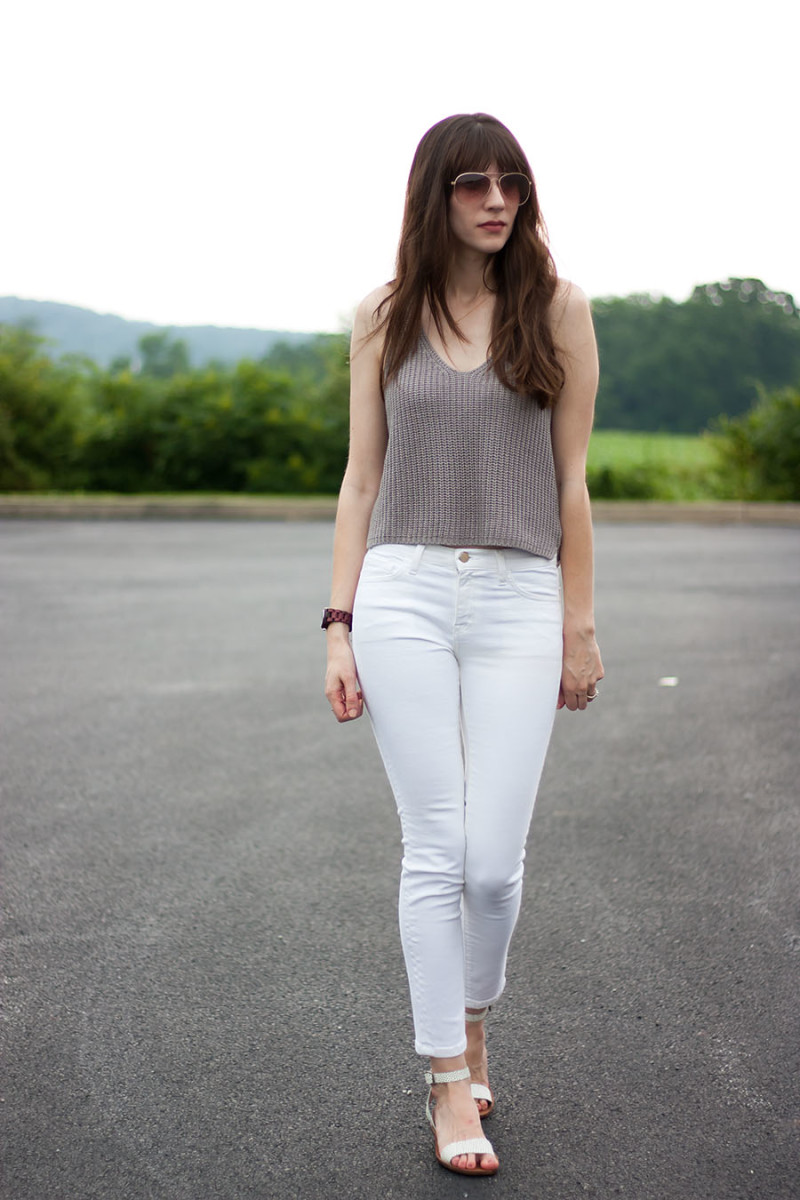 Industry Standard White Jeans, Modern Citizen Knit Tank