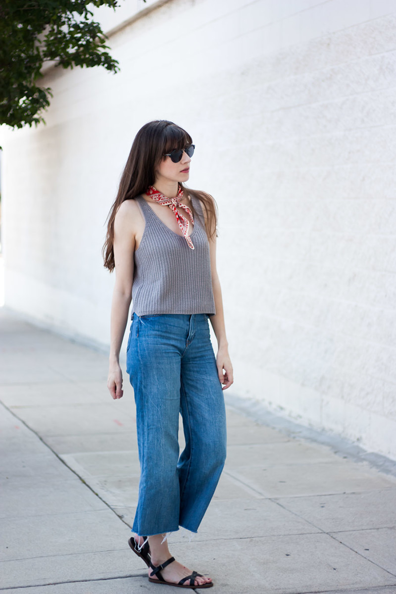 70's style outfit with denim culottes