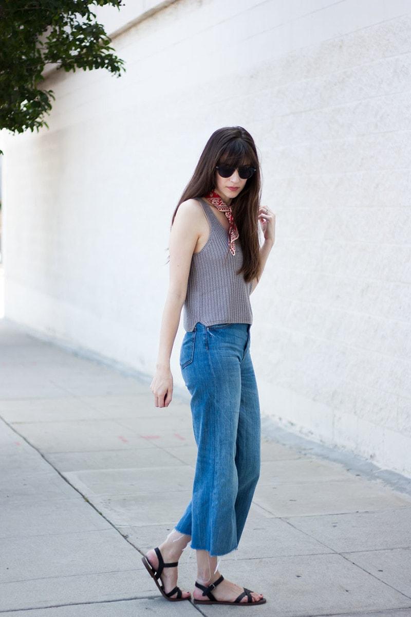 Los Angeles Style Blogger wearing denim wide leg pants