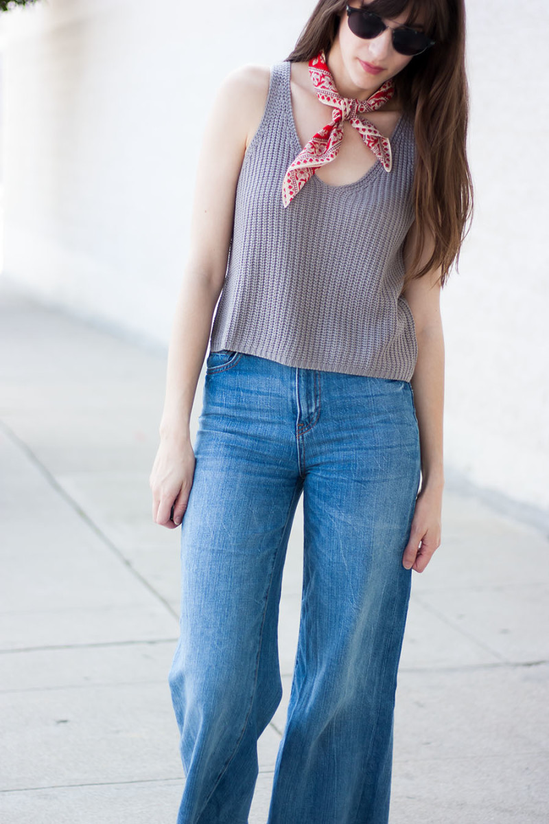 Cropped Knit Tank with Madewell Scarf and Denim