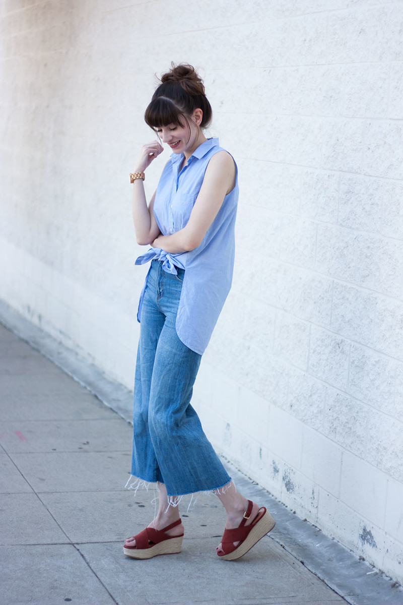 Zara Denim Culottes, Flatform Sandals