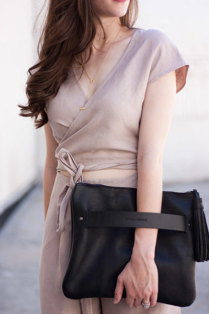 Black Tassel Clutch, Handmade Leather Clutch