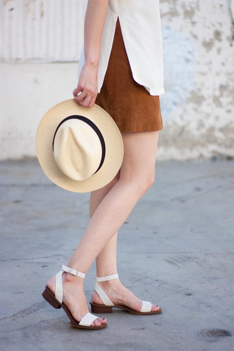 Suede Skirt, J.Crew Panama Hat