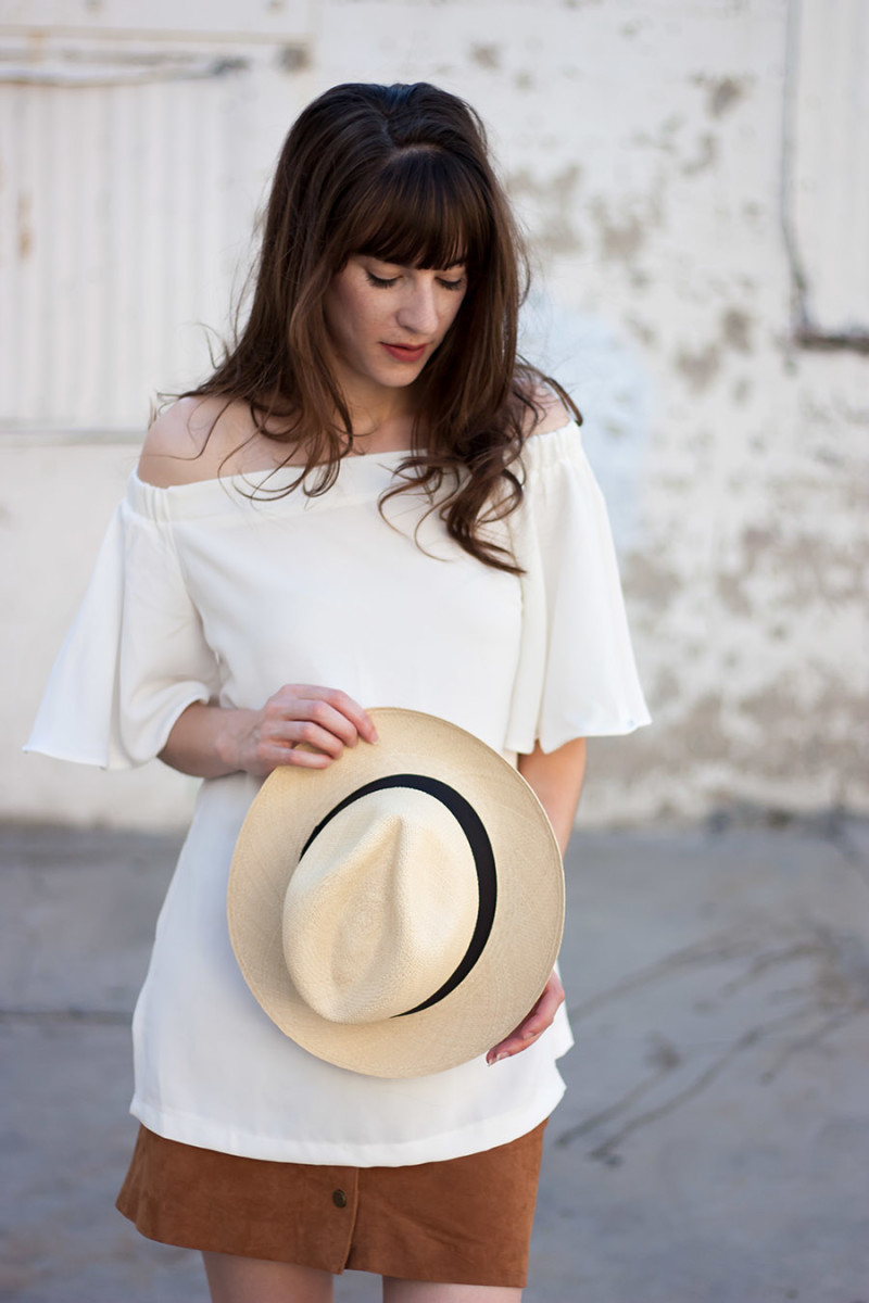 Panama Hat, White Off the Shoulder Top