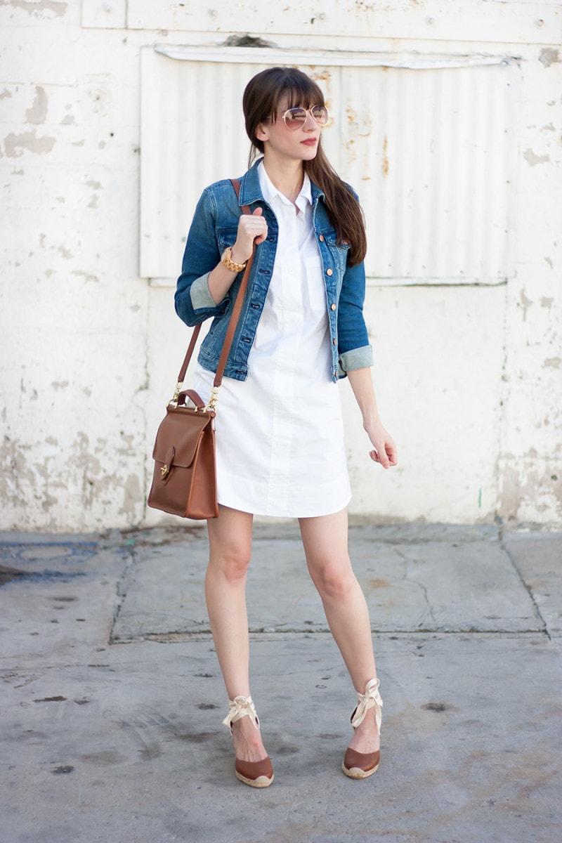 White Shirtdress, Soludos Wedge Espadrilles, Denim Jacket