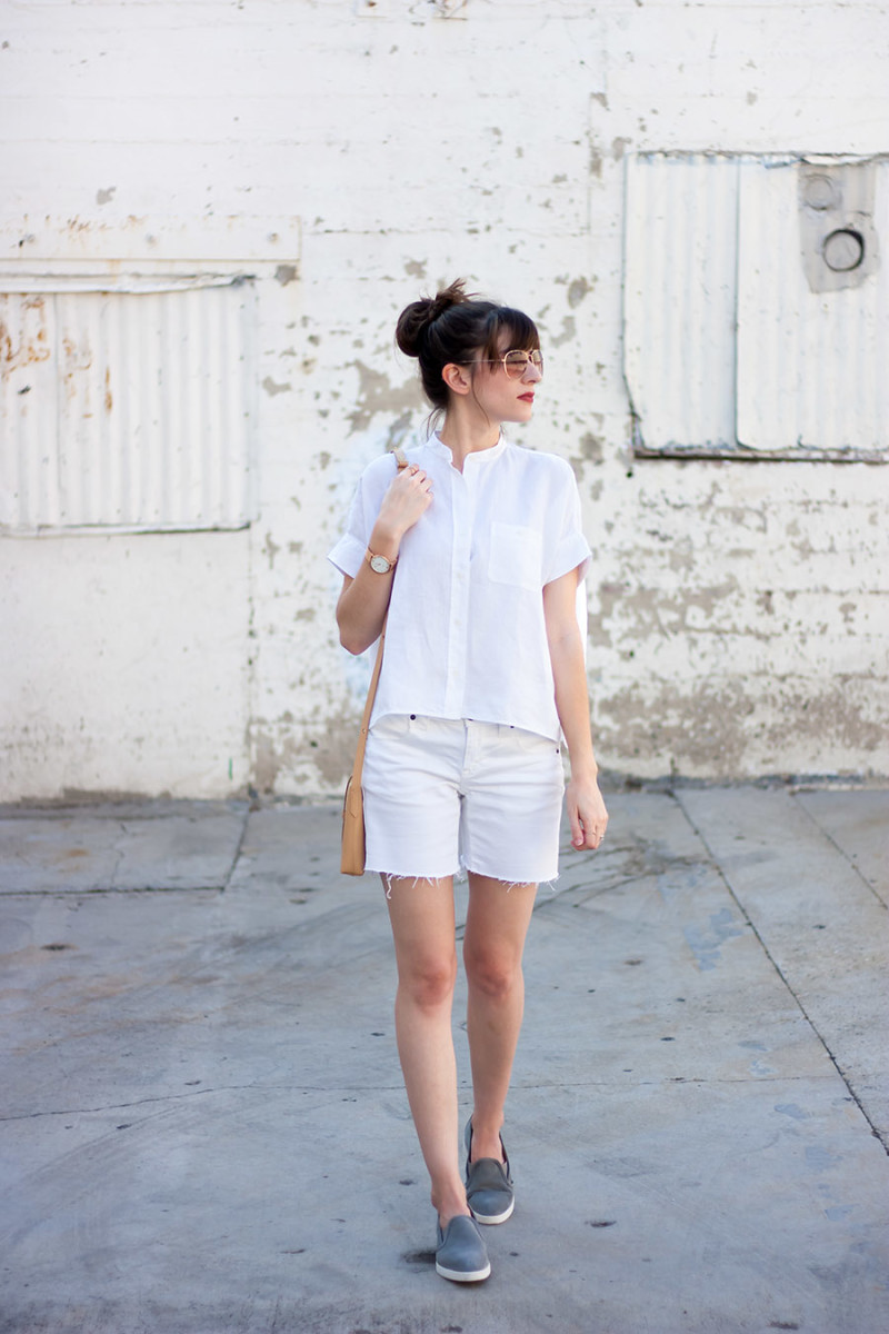 All white summer outfit, Everlane review