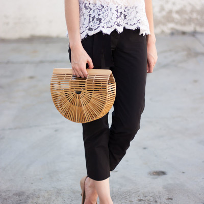 Bamboo Clutch, Black and White Outfit