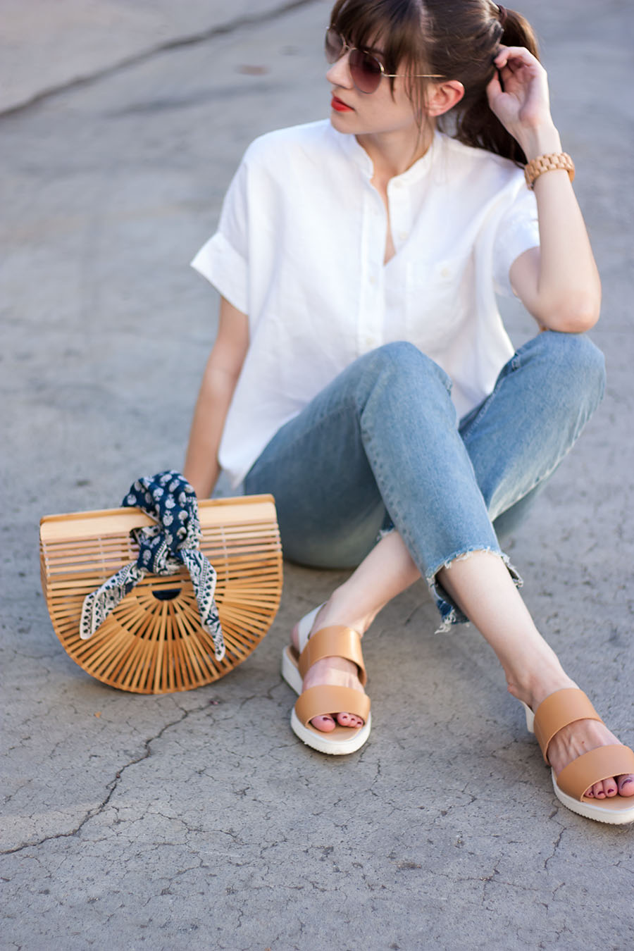 Bamboo Bag with scarf, Cult Gaia Bamboo Ark, Everlane Sandals, Stepped Hem Jeans