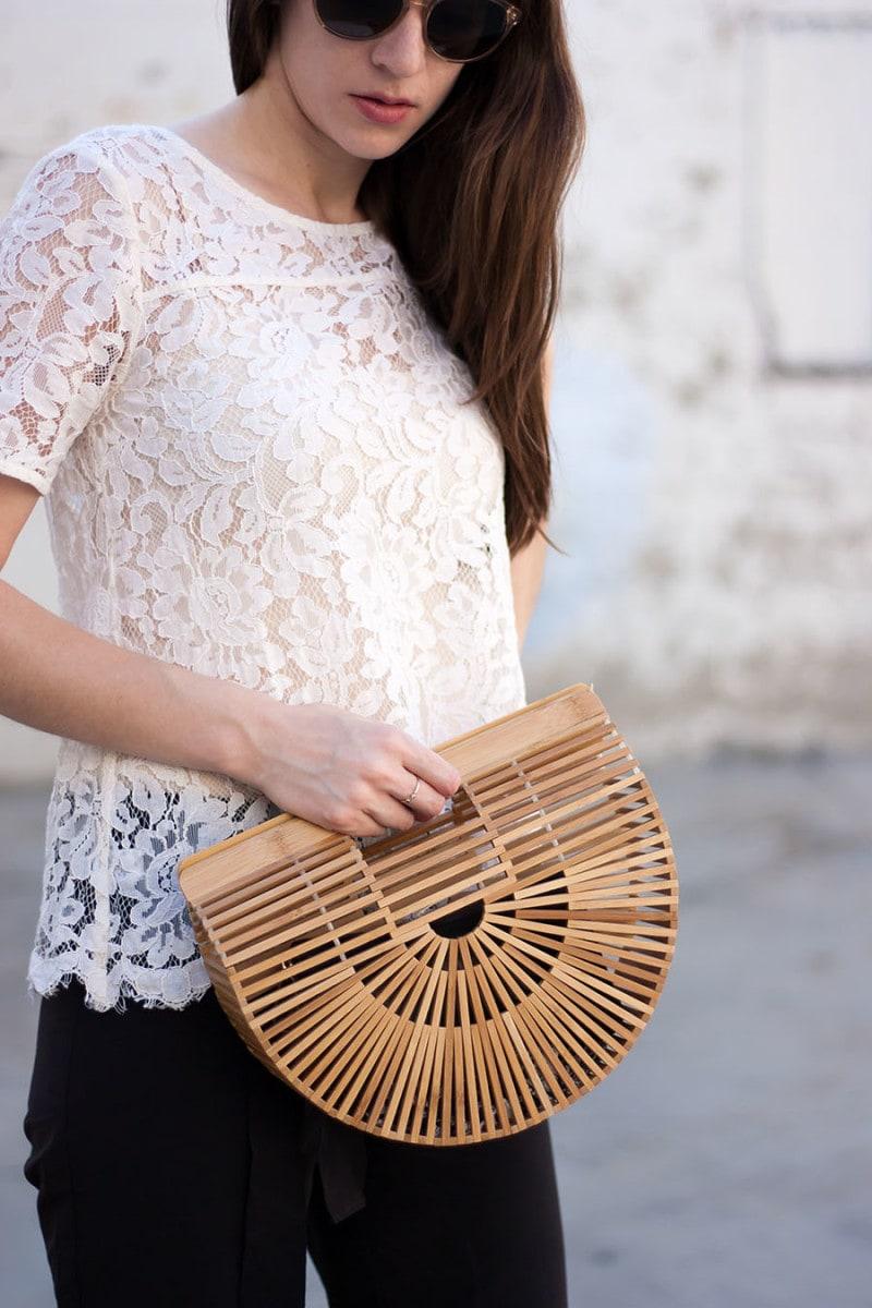 Cult Gaia Bag, Lace Shirt, Shwood Sunglasses