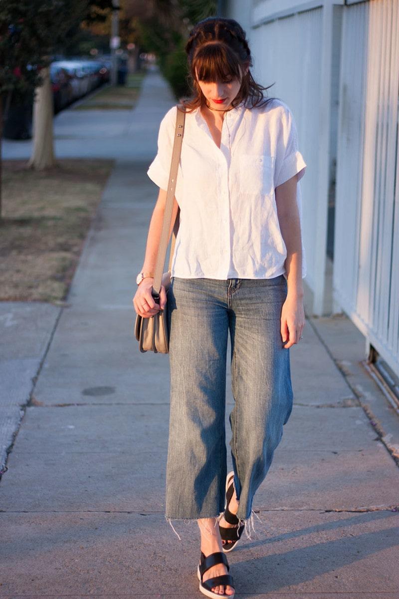 Everlane Linen Shirt, Denim Culottes