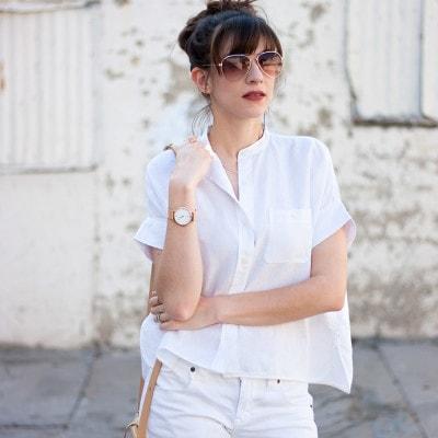 Everlane Linen Shirt, Rose Gold Jewelry