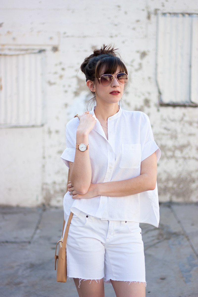 Everlane Linen Shirt, Rose Gold Jewelry