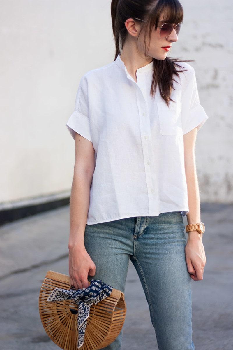 Everlane Linen Square Shirt, Cult Gaia Clutch
