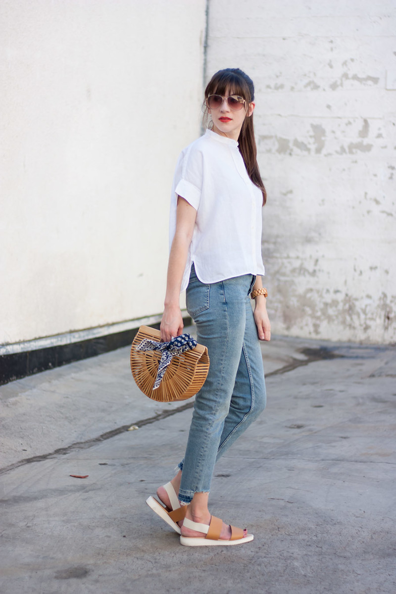 Everlane Outfit, Topshop Jeans, Cult Gaia