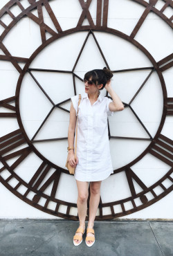 White J.Crew Shirtdress, Everlane Sandals