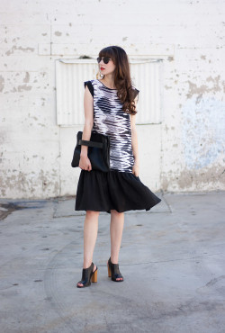 Kami Couture Dress, Black and White Drop Waist Dress