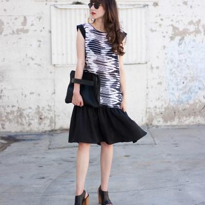Kami Couture Dress, Black and White Drop Waist Dress