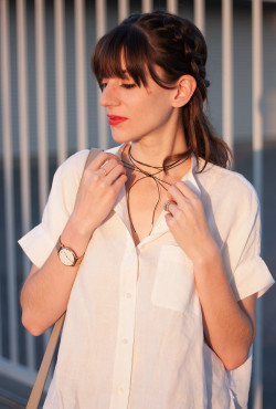 Leather Wrap Choker, White Linen Shirt