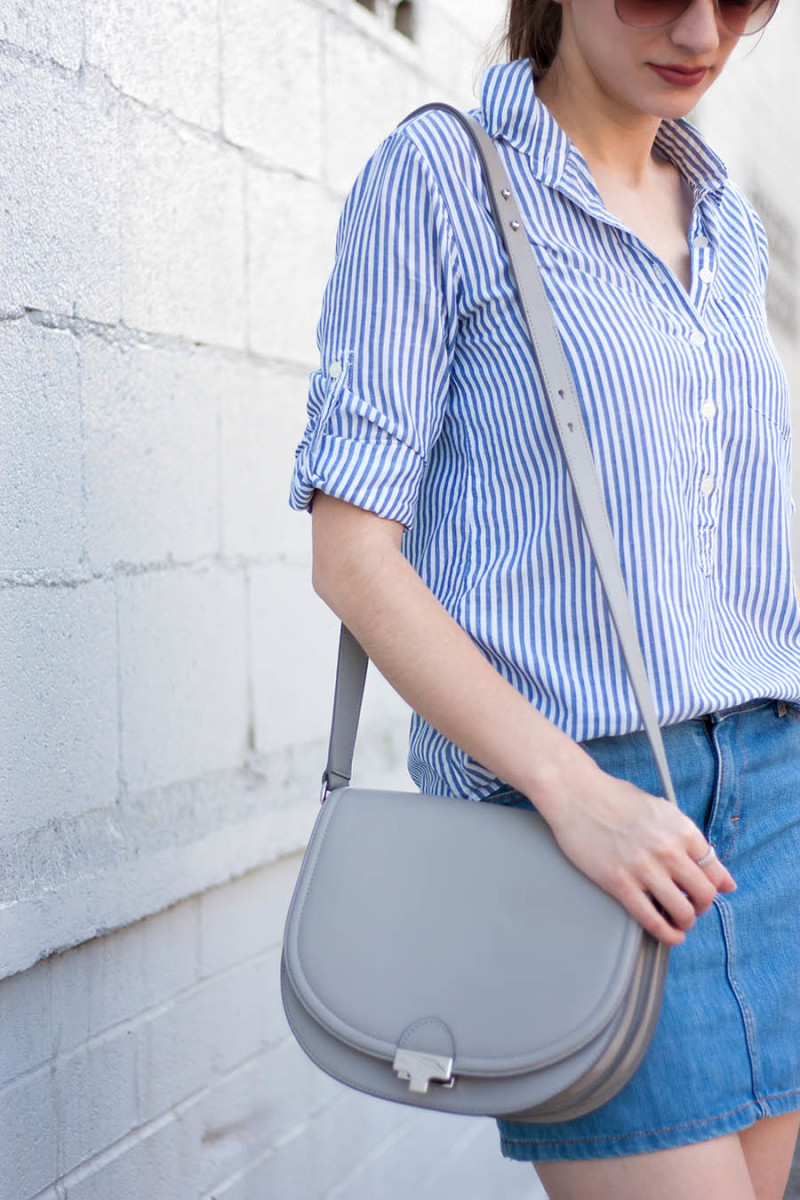Loeffler Randall Saddle Bag, Grey Saddle Bag