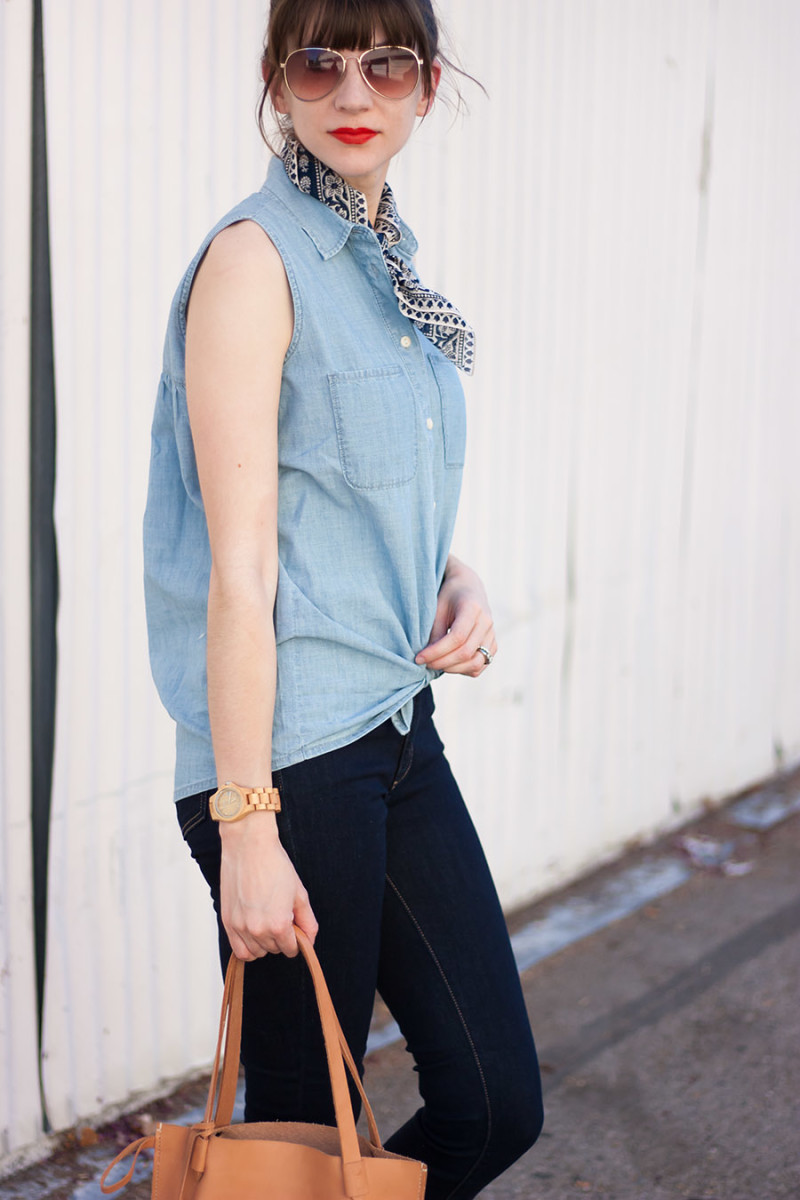 Madewell Chambray Top, How to Style a Bandana Scarf