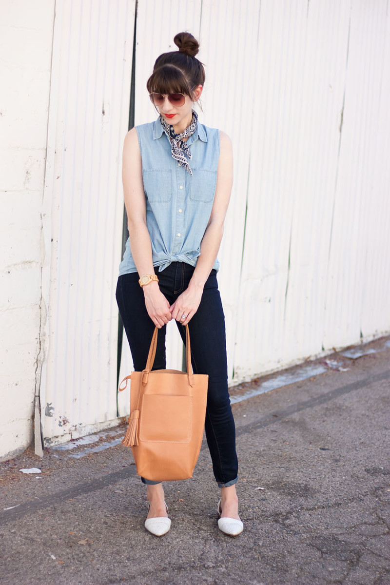 Minnie and George Handmade Leather Tote, Denim Outfit