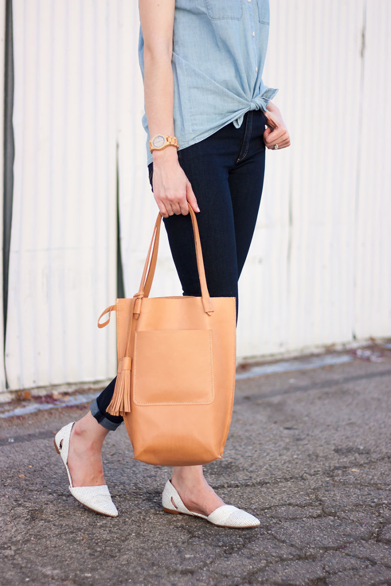 Minnie and George Tote Bag, Tan Leather Tote