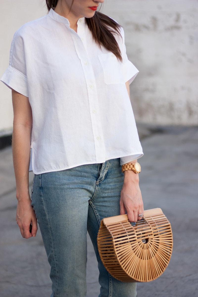 White Linen Shirt, Minimalist Fashion, Cult Gaia Bag