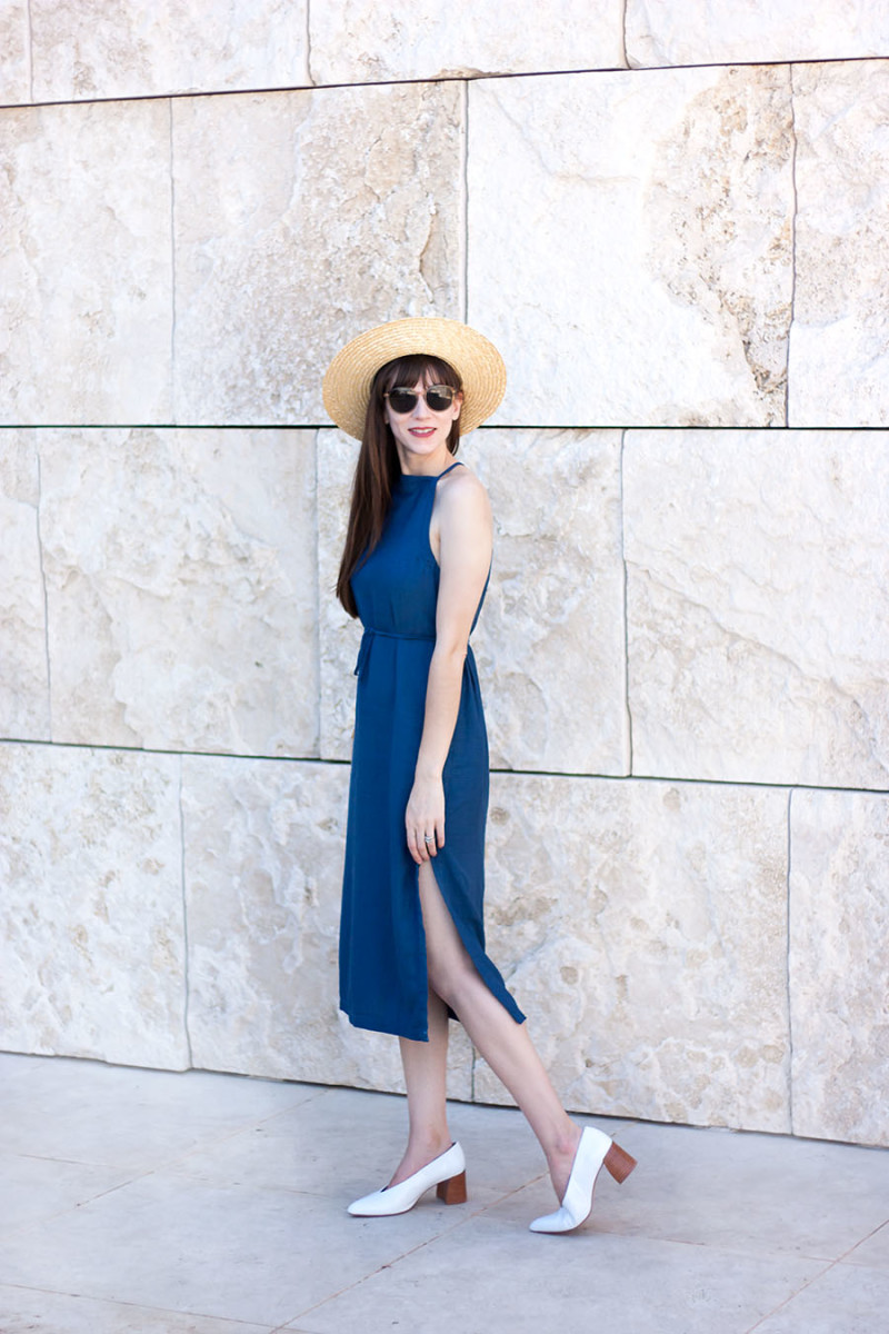 Los Angeles style blogger at the Getty Museum wearing Asos denim midi dress and zara heels