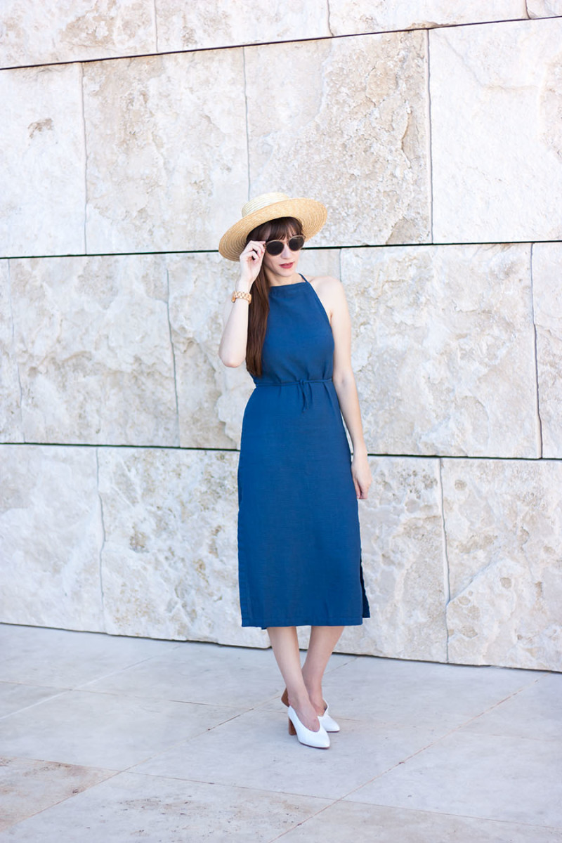 Jeans and a Teacup at the Getty Museum wearing Asos Denim Dress and Zara Heels