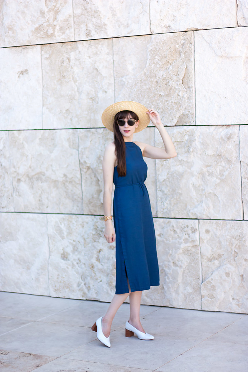 Los Angeles Style Blogger wearing denim midi dress