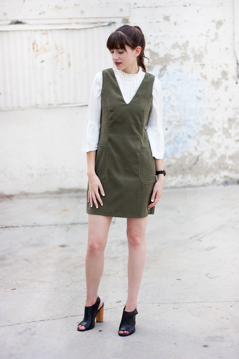 Jeans and a Teacup wearing a green suede dress and white blouse