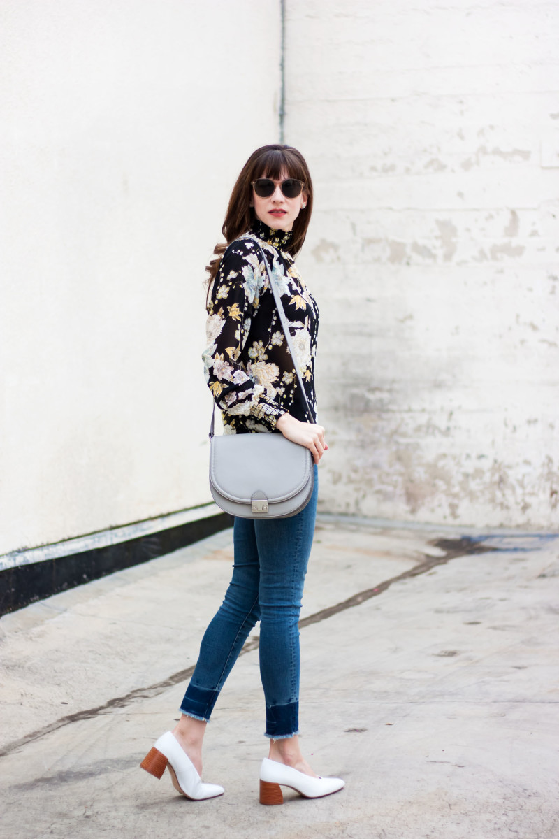 Style Blogger Jeans and a Teacup wearing a floral blouse, zara shoes and Loeffler Randall Saddle Bag