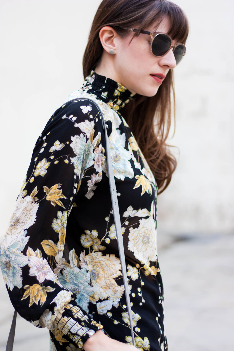 Floral blouse with minimalist Stud earrings from Kate and Moose