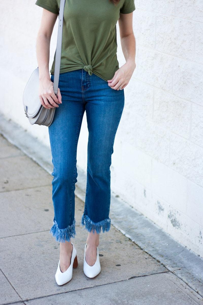 Topshop Cropped Fringe Jeans with Loeffler Randall Saddle Bag on Los Angeles Style Blogger