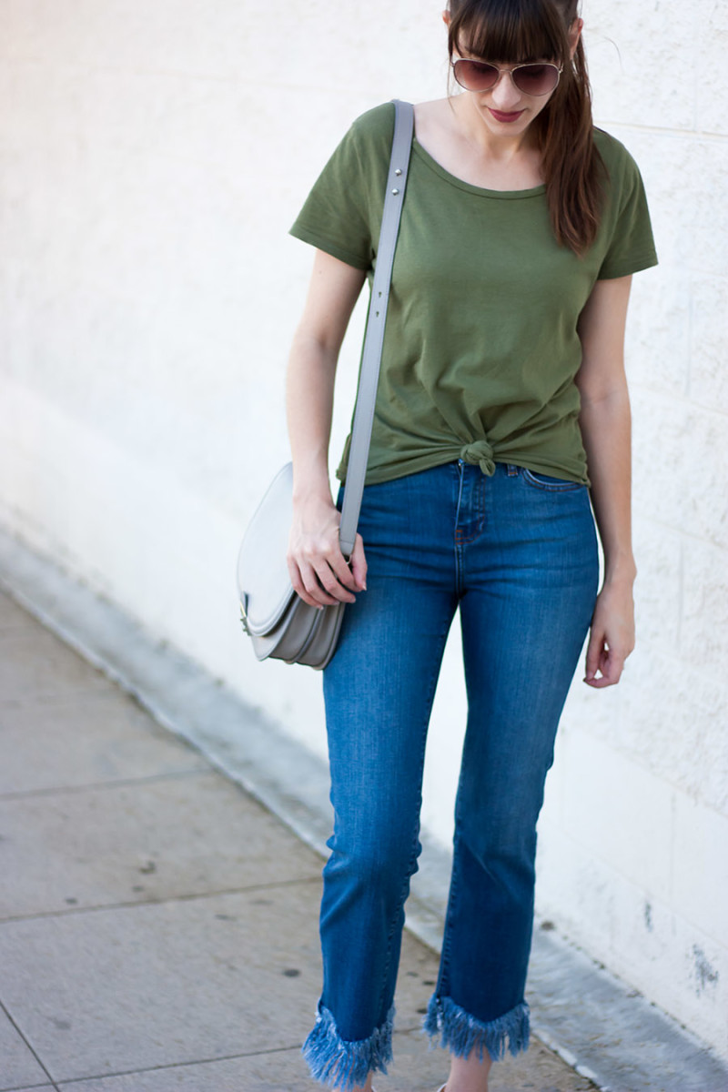 Jeans and a Teacup styling Fringe Hem jeans and tied front shirt