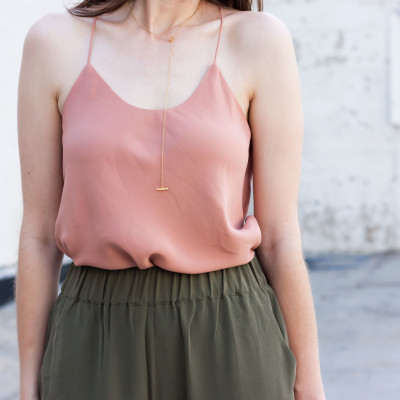 Fashion Blogger wearing affordable silk cami from Grana